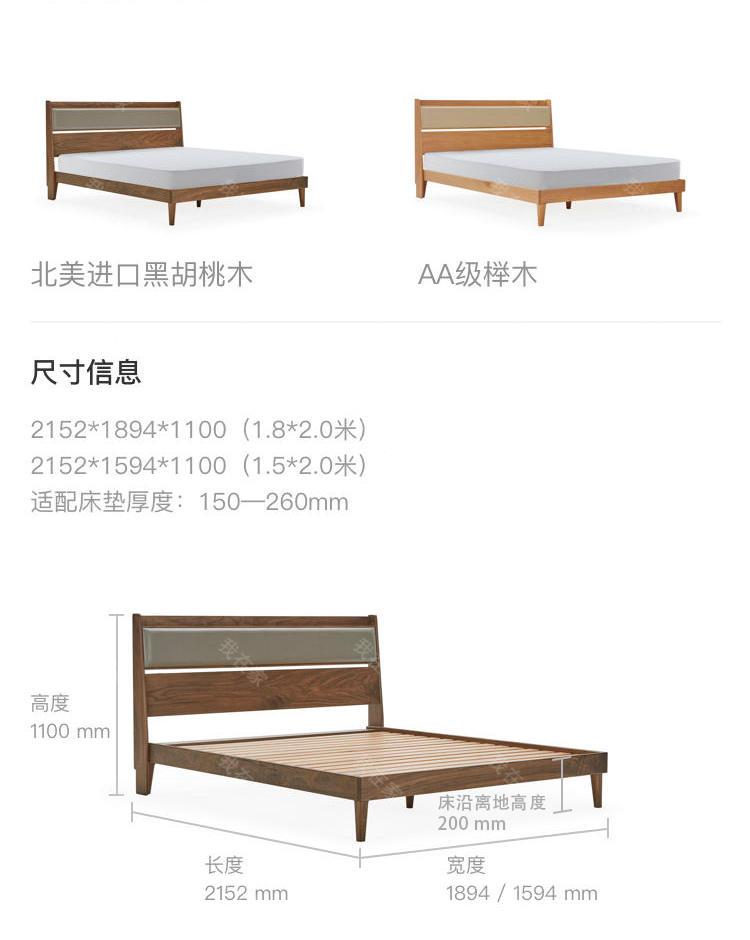 原木北欧风格知礼双人床的家具详细介绍