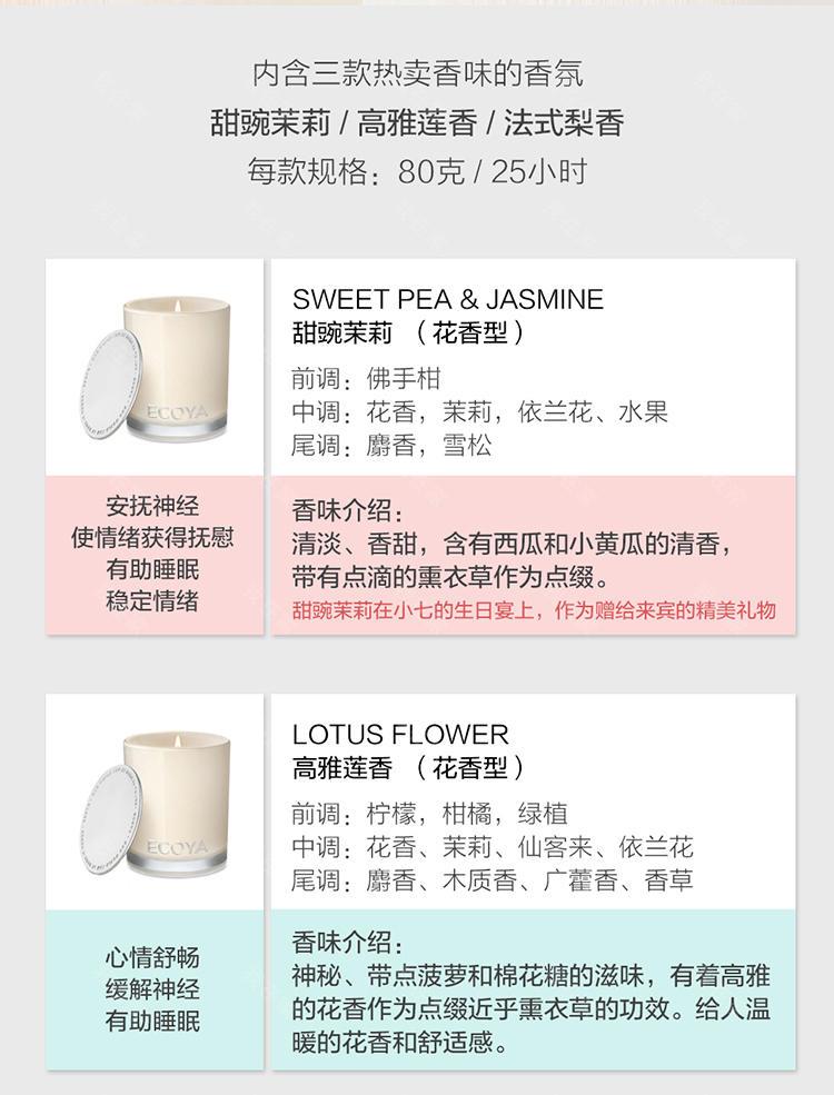 ECOYA香氛品牌迷你香薰蜡烛三入香氛组的详细介绍